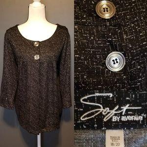 SOFT BY AVENUE Plus size Black Blazer Work wear